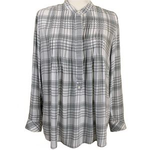 Gap Gray and White Plaid Tunic Top